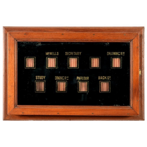 203 - <p>THE EDWARDIAN MAHOGANY ELECTRIC SERVANTS' INDICATOR BOARD FROM THE KENT HOME OF H G WELLS with fe...