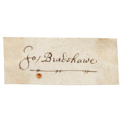 222 - <p>JOHN BRADSHAW (1602-1659) AND ROBERT LILBURNE (1613-1665) TWO PIECES SIGNED JO BRADSHAWE OR ROBT ...