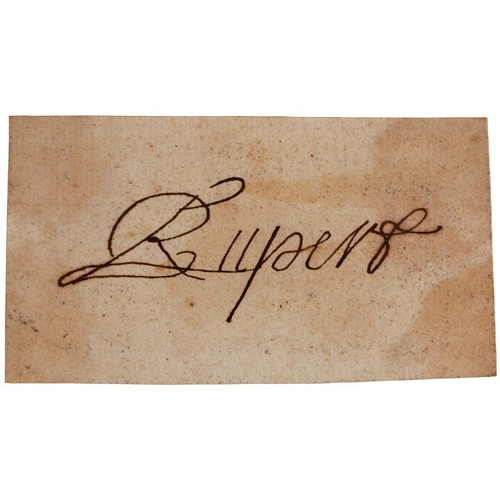224 - <p>PRINCE RUPERT OF THE RHINE (1619-1682) PIECE SIGNED RUPERT  4.5 x 8.4cm, loosely laid down on an ...