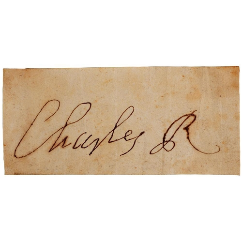 225 - <p>CHARLES II (1630-1685) PIECE SIGNED AS KING, CHARLES R  4.9 x 10.6cm, loosely laid down on an old...