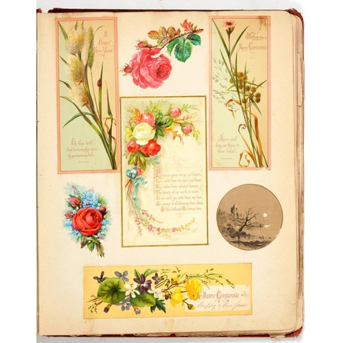 244 - <p>A VICTORIAN ALBUM OF GREETINGS CARDS   including many paper lace and other Valentine cards the ot...