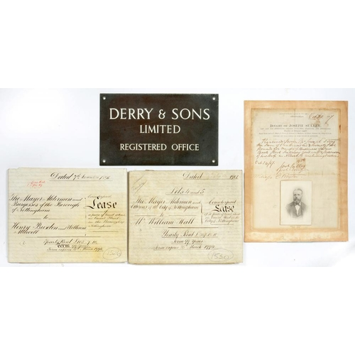 248 - <p>DERRY & SON, PRINTERS AND STATIONERS NOTTINGHAM.  A GROUP OF DOCUMENTS  comprising receipt of Jos...