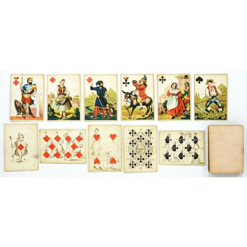 274 - <p>PLAYING CARDS.   A GERMAN DECK OF FIFTY TWO LITHOGRAPHED AND STENCILLED  the King of  Diamonds wi...