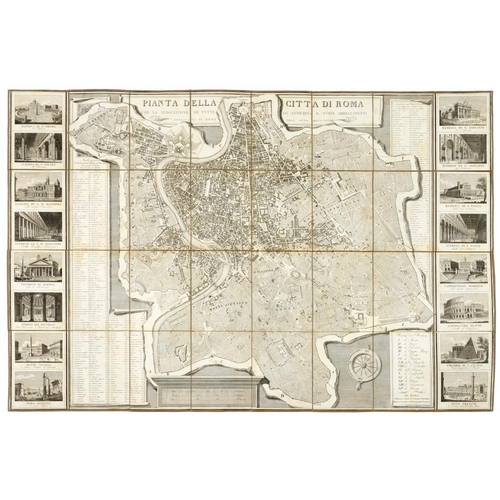 313 - <p>GRAND TOUR PLANS. VAROUS PUBLISHERS, PIANTA DELLA CITTA DI ROMA, 1824 flanked by sixteen vies of ...