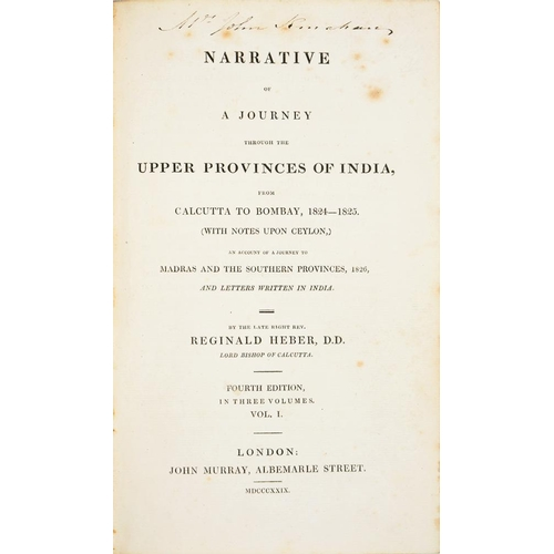 95 - <p>HEBER, REGINALD</p><p>NARRATIVE OF A JOURNEY THROUGH THE UPPER PROVINCES OF INDIA</p><p>London, J...