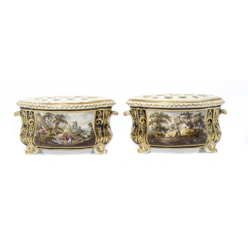 108 - <p>A PAIR OF DERBY BOUGH POTS, C1820 of bomb� form, painted to the front with rectangular gilt frame...