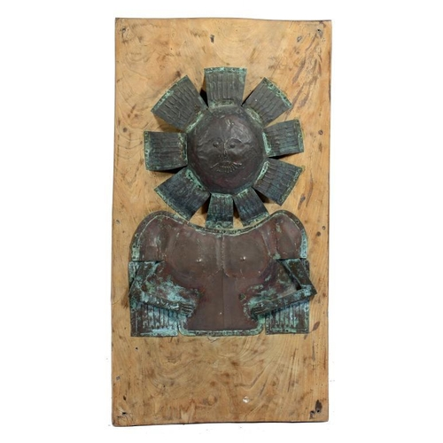 1099 - <p>A SHEET BRASS   WALL RELIEF OF A SUN DEITY, 20TH CENTURY with articulated cast brass bent arms, n...
