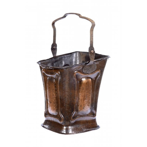 11 - <p>AN ARTS & CRAFTS COPPER COAL SCUTTLE, C1900  with wrought iron handle, 70cm h overall</p><p></p>...