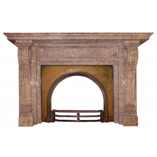 1101 - <p>A FRENCH BROCATELLE MARBLE CHIMNEYPIECE, C LATE 19TH CENTURY IN LOUIS XVI STYLE the volute jambs ...
