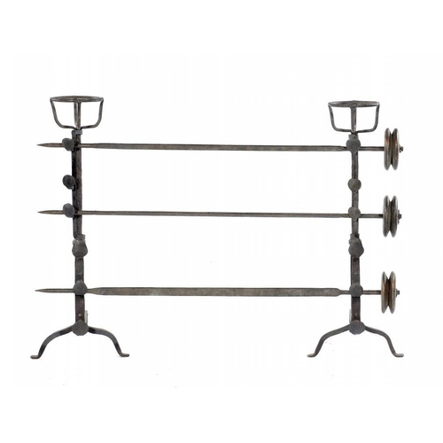 1103 - <p>A PAIR OF WROUGHT IRON CRESSET FIRE DOGS,   18TH C  with spit racks and three iron spits, each wi...