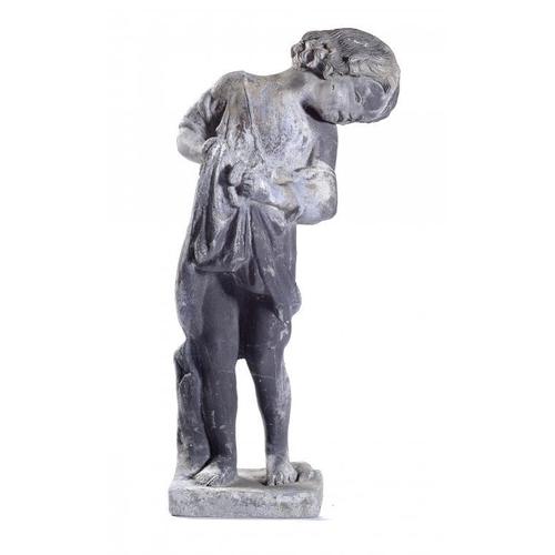 1104 - <p>A LEAD GARDEN STATUETTE OF A CHILD, EARLY 20TH C  63cm h</p><p></p>...