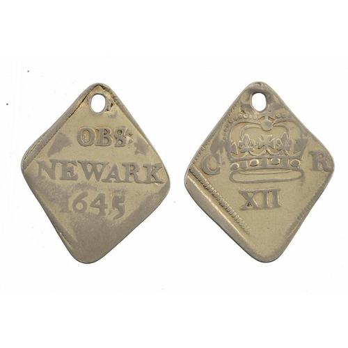 1112 - <p>CHARLES I, NEWARK, SHILLING, 1645, 5.4gm, gilded, holed, mostly Fine</p>...