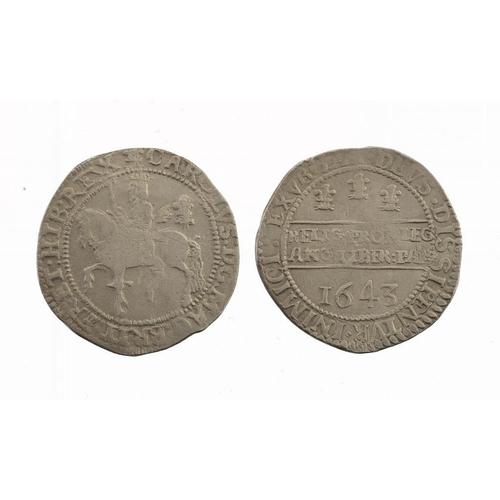 1117 - <p>CHARLES I, OXFORD, HALFCROWN, 1643, Declaration type, 14.55gm, adjustment marks obverse, Fine-goo...