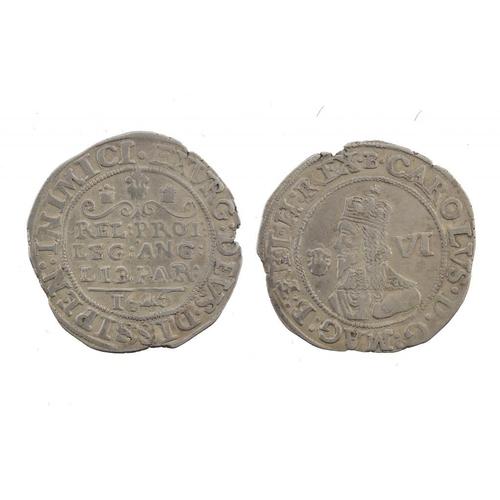 1118 - <p>CHARLES I, BRIDGNORTH(?) SIXPENCE, 1646, 3.2gm, reverse slightly double struck, somewhat irregula...