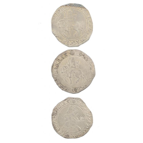 1119 - <p>CHARLES I, TOWER ISSUE, SHILLING, 1645,  5.9gm, weak portrait, Fine+; HalfCrown, 14.65gm, Fine+, ...