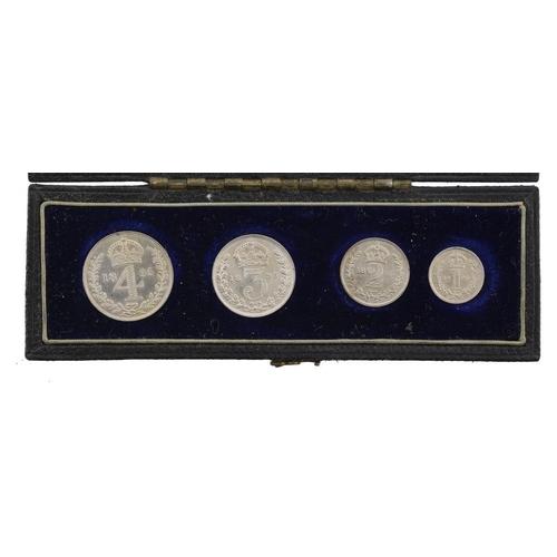 1124 - <p>MAUNDY SET.   VICTORIA, 1895, contemporary oblong box, BU</p>...