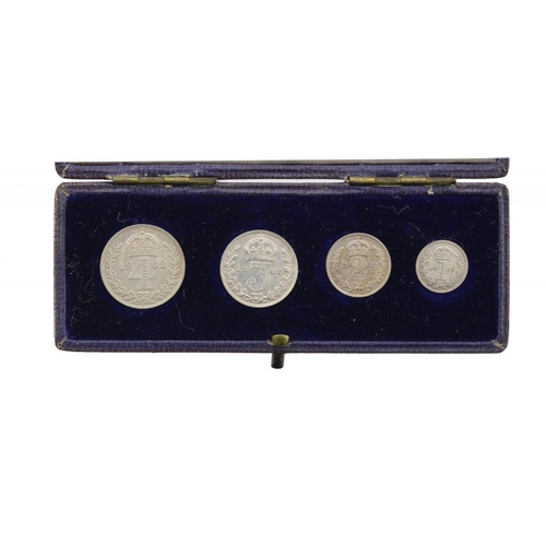 1126 - <p>MAUNDY SET.  EDWARD VII, 1902, contemporary Spink box,  BU</p>...