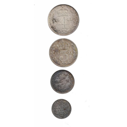 1129 - <p>MAUNDY SET.  GEORGE V, 1911, modern box, 1d, 2d, 4d almost    BU, 3d ordinary and only Fine</p>...