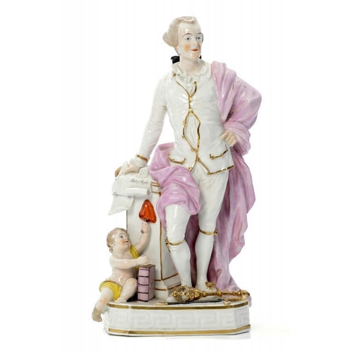 114 - <p>A DERBY FIGURE OF JOHN WILKES, C1820 standing at a pedestal with quill in hand and scrolls inscri...
