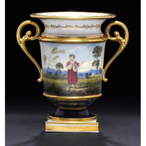 131 - <p>A FLIGHT, BARR & BARR SCROLL HANDLED COBALT GROUND SPILL VASE, C1815-20  finely painted with a ru...