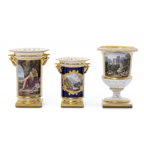 123 - <p>A FLIGHT, BARR & BARR SPILL VASE, C1820  painted to either side with a landscape in raised gilt f...