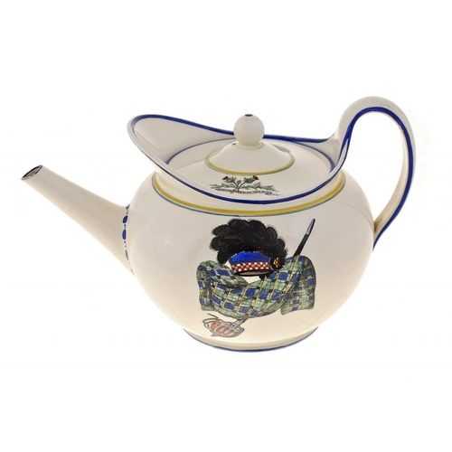212 - <p>A RARE WEDGWOOD QUEENSWARE TEAPOT AND COVER FROM THE 'GORDON HIGHLANDERS' SERVICE, 1809 enamelled...