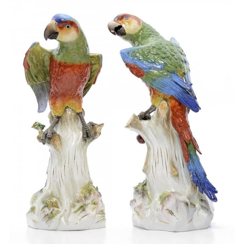 247 - <p>A PAIR OF MEISSEN MODELS OF PARROTS, LATE 19TH C 42cm h, incised A 43 or A 43a, crossed swords</p...