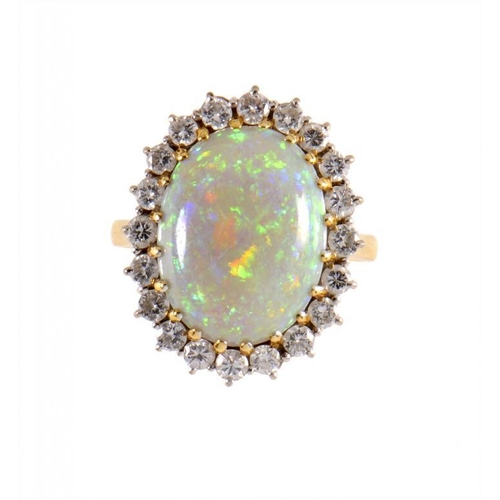 362 - <p>AN OPAL AND DIAMOND CLUSTER RING in 18ct gold, Birmingham 1988, size O</p><p></p>...