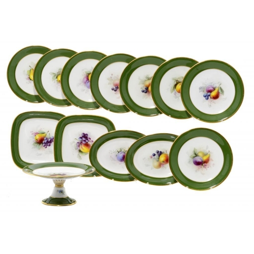 162 - <p>A ROYAL WORCESTER DESSERT SERVICE, 1907 painted by Chivers, all signed (except two plates) with f...