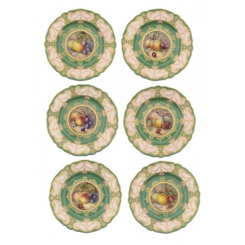 163 - <p>A SET OF SIX ROYAL WORCESTER DESSERT PLATES, 1912 painted by R Sebright, all signed, with fruit o...