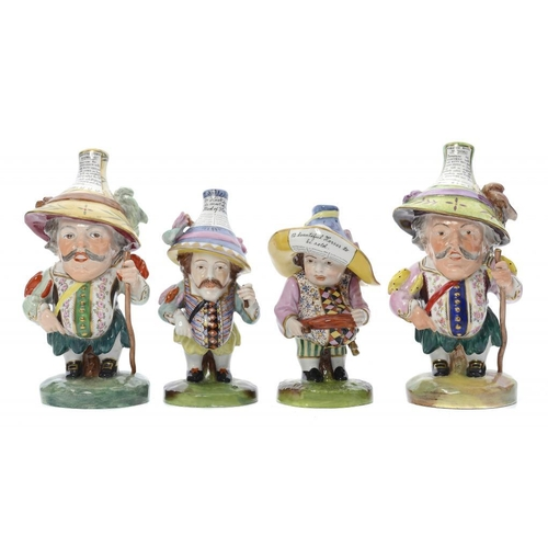 164 - <p>A PAIR OF ROYAL CROWN DERBY FIGURES OF MANSION HOUSE DWARVES, C1950 painted in a brightly coloure...