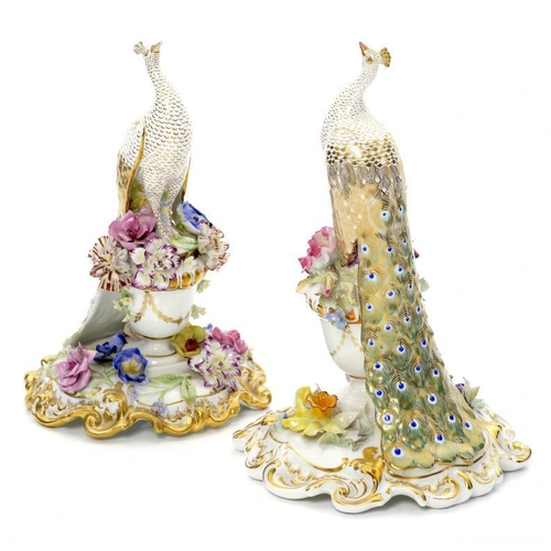 165 - <p>TWO ROYAL CROWN DERBY MODELS OF PEACOCKS, MID  20TH C 18cm and 24cm h, printed mark </p><p></p>...
