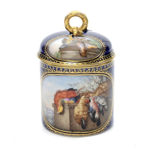 181 - <p>A BERLIN CHOCOLATE CUP AND DOMED COVER,  C1900 painted with oval gilt panels of game birds, 9.5cm...