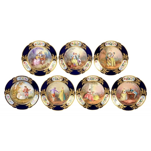 182 - <p>SEVEN S�VRES STYLE PORCELAIN CABINET PLATES C1900 painted by Collin,   signed and/or inscribed, w...