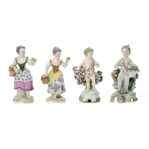194 - <p>TWO MEISSEN FIGURES OF A BAREFOOT GIRL, 20TH C   13.5cm h, incised and impressed nos, crossed swo...