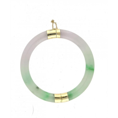 334 - <p>A CHINESE GREEN AND LAVENDER   JADEITE BANGLE  adapted as a bracelet with silver gilt mounts, 9cm...