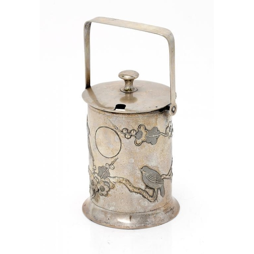 338 - <p>A CHINESE SILVER REPOUSS� JAR AND COVER, EARLY 20TH C  worked with birds and prunus on a textured...