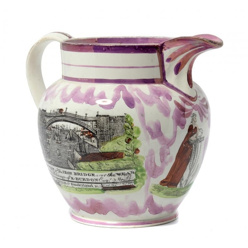 42 - <p>A SUNDERLAND LUSTRE JUG,  C1840  printed and painted with a view of the Wear Bridge, verse and fi...