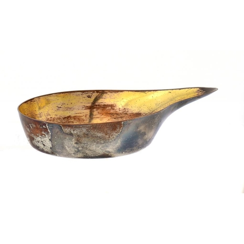 528 - <p>A SHEFFIELD PLATE PAP BOAT, C1790  the interior gilt, 10.5cm l</p><p>Illustrated: Crosskey, op ci...