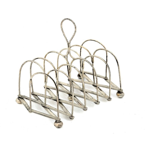 537 - <p>A SHEFFIELD PLATE PATENT WIREWORK TELESCOPIC TOAST RACK, C1807 12.5cm h, by Roberts Cadman & Co, ...