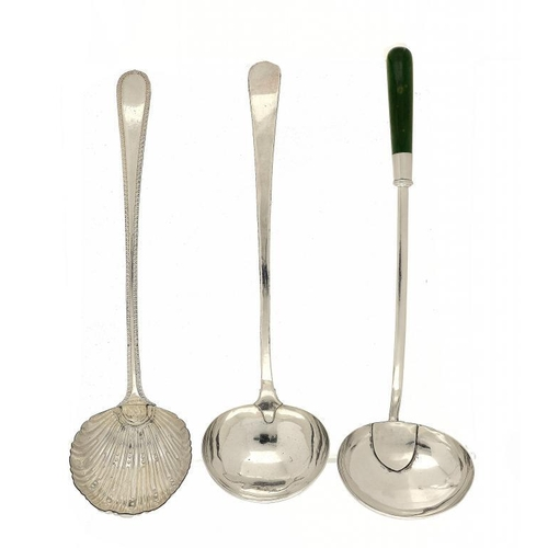 538 - <p>THREE SHEFFIELD PLATE SOUP LADLES, ONE WITH GREEN STAINED IVORY HAFT, C1770, 1790 AND 1800 includ...