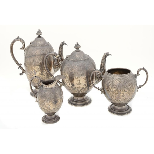 580 - <p>A VICTORIAN SILVER OVOID TEA AND COFFEE SERVICE  crested, coffee pot 26cm h, by Elkington & Co, B...