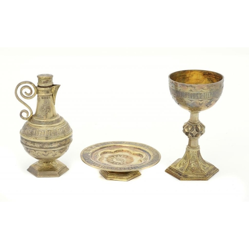 581 - <p>A VICTORIAN GOTHIC SILVER GILT COMMUNION SET FOR THE VISITATION OF THE SICK  comprising chalice a...
