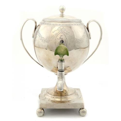 622 - <p>AN IRISH GEORGE III SILVER TEA URN AND COVER   engraved with swags, green stained ivory tap handl...