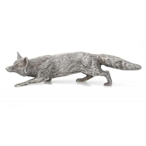 635 - <p>AN ELIZABETH II SILVER MODEL OF A FOX  23.5cm l, by C J Vander Ltd, London 1979, 23ozs</p><p></p>...
