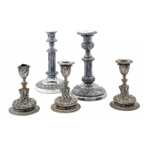 676 - <p>A PAIR OF VICTORIAN ELECTROTYPE DWARF CANDLESTICKS BY ELKINGTON & CO, C1890  with nozzles, 13cm h...