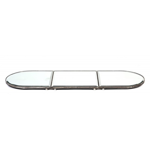 677 - <p>AN EPNS MIRROR PLATEAU, 20TH C  in three sections 46.6 x 140cm, maker M&H, stamped 2749</p><p></p...