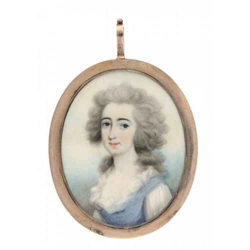 679 - <p>THOMAS HAZLEHURST (C1740-1821) BUCK A LADY  in a blue dress with powdered hair, sky background, i...