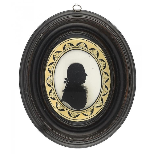 682 - <p>JOHN MIERS (C1758-1821) SILHOUETTE OF A GENTLEMAN PROBALBY OF THE SHAND FAMILY   painted on plast...