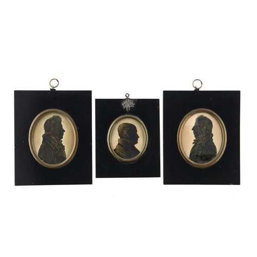 684 - <p>WILLIAM JAMES HUBARD (1807-1862) SILHOUETTE OF A MAN  cut paper, ink and gold paint on card and t...